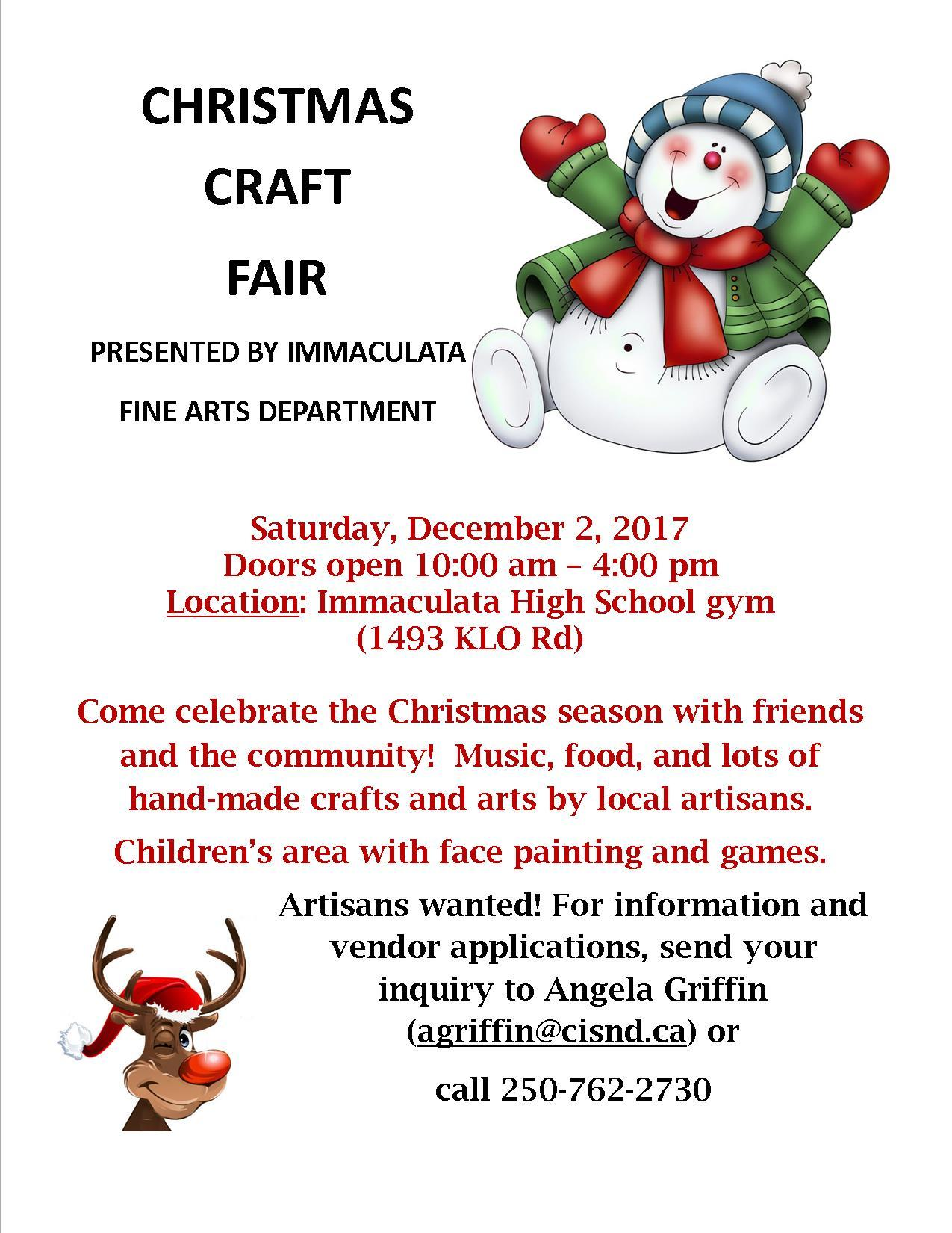 VENDORS NEEDED - CHRISTMAS CRAFT FAIR - DECEMBER 2ND