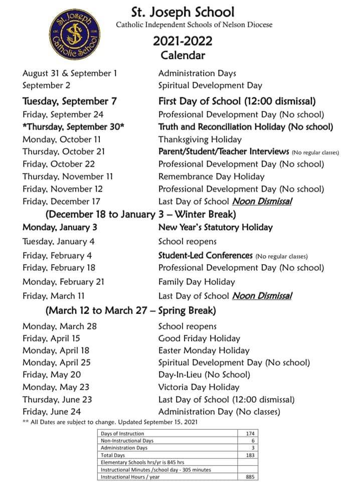 Updated School Calendar 2021-2022 September 15, 2021